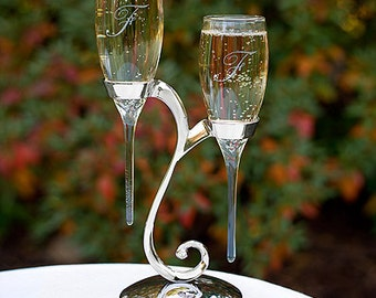 Raindrop Initial Wedding Flutes Set  Champagne Toasting Glasses