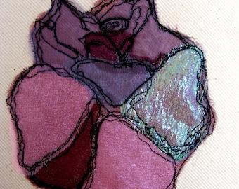 Original 'Damson Rose' - Textile Art by Jane Woodman 2014