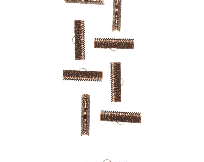 150 pieces  25mm  (1 inch)  Antique Copper Ribbon Clamp End Crimps - Artisan Series