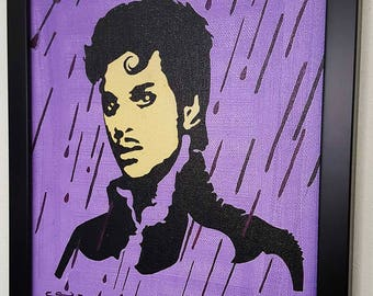 Prince  Purple Rain RETRO- Giclee Wall Art mixed media on canvas - Prince framed poster Painting -artwork,gift