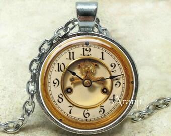 Vintage clock pendant, clock necklace, clock jewelry, clock art necklace, clock pendant, vintage clock, Pendant#HG128P