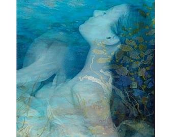 Ophelia print, digital art, photomontage, modern art, fine art print, digital print, home decor, aqua blue teal, water fantasy art, wall art