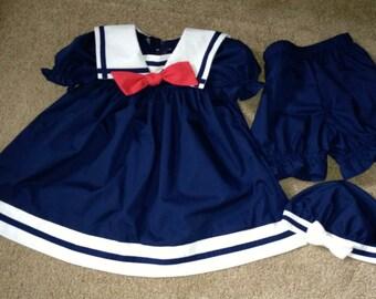 Seaside Infant Sailor Dress Set