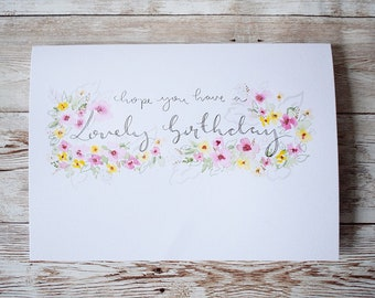 Lovely Birthday / hand made Birthday Card / watercolour