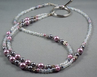 """Breakaway lanyard necklace with bead chain ,32"""" to 46"""" long beaded ID badge holder leash or key card strap ,magnetic or toggle clap , unique"""
