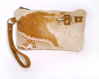 Acid Washed Leather Zipper Pouch Wristlet with Antique Key and Vintage Crochet Lace - Tan Hair On Hide