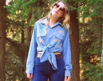 70's Embroidered Shirt, Sunshine Chambray Shirt Size Large Big Mac Shirt, Vintage Western Shirt, First Place Embroidered Denim Shirt