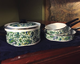 Vintage Fancipans Paisley Pot and Pan Set