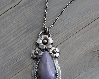 Cherry Blossom and Burro Creek Lavendar Jasper pendant, Mother's Day Gifts, Ready to ship, Hand fabricated by Hapa Girls