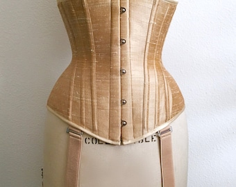 PUIMOND PY03 Champagne Silk Dupioni Tightlacing Underbust Corset Size 22 NEW In-stock
