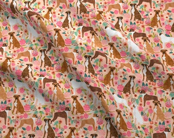 Peach Pink Floral Boxer Fabric - Boxer Florals Flowers Boxer Dogs Boxers By Petfriendly - Cotton Fabric By The Yard With Spoonflower