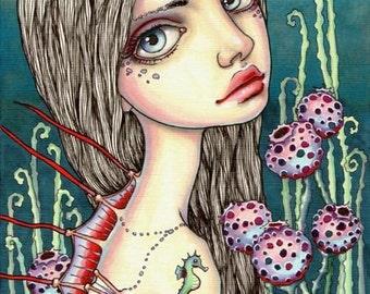 KENZO - surreal pop fantasy art girl mermaid- 5x7 print of an original painting by Tanya Bond