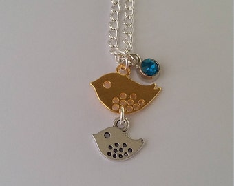 Mother bird charm necklace