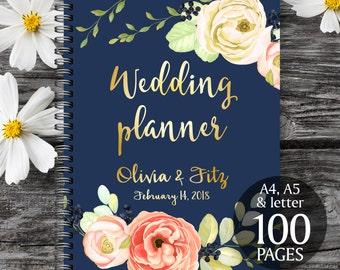 Printable wedding planner, Rose gold navy wedding planner, Wedding binder, Wedding book, Printable wedding organizer, To do wedding list