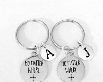 Best Friend Gift, No Matter Where Keychain Set, Initial Best Friend Gift, Long Distance, Sisters Couples Mother Daughter Keychain Set
