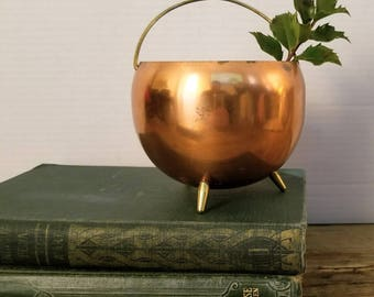 Vintage Coppercraft Guild Footed Copper and Brass Pot Planter