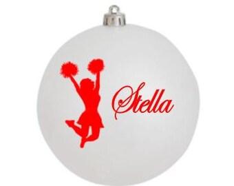 Cheerleader ornament, Christmas Ornament, Personalized Ornament, White