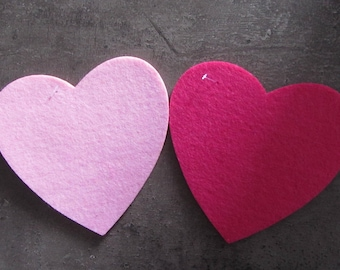 Set of two large felt hearts - very thick