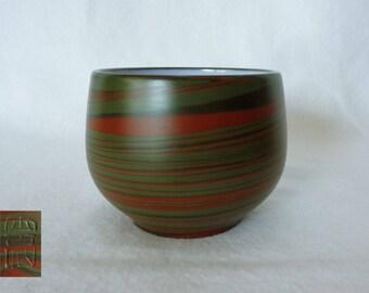 1398:Yunomi tea cup ,Fine Japanese Tokoname-yaki Studio pottery Nerikomi(marbled)Yunomi tea cup glazed inside,Rare,marked,hand made in Japan