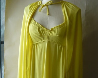 Vintage 60s Yellow Maxi DRESS with CAPE / size 6 8 10 / Mod Floor Length Evening / 1960s Empire Spaghetti Straps