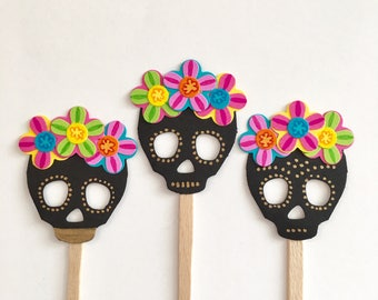 Skull Cupcake Toppers - Halloween Cupcake Toppers - Day of the Dead -  Fiesta Wedding Cake Toppers - Sugar Skull Baby Shower