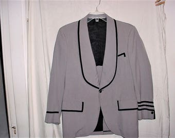 Vintage 70s Mens Gray Poly  Black Trim Tux  Jacket Small Shawl Collar Tuxedo