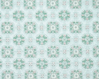 1940s Vintage Wallpaper by the Yard - Aqua and Pink Geometric with Tiny Flowers