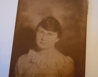 Vintage Photograph Girl with Glasses