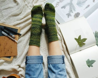 Green Forest Socks, Rustic Socks Made with Hand Dyed Yarn, Winter Essentials for Women
