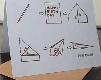 Par Avion - Paper Airplane Gocco Printed Birthday Card