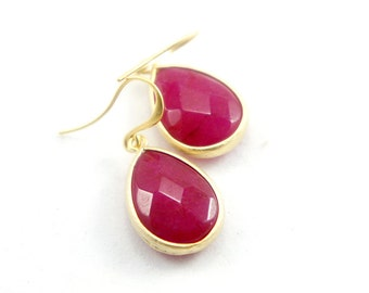 Gold Framed Facet Ruby Jade Quartz Stone Drop Earrings - Bridesmaids Gift Idea - Simple Everyday Jewelry - Wedding Jewelry - Bridal Earrings