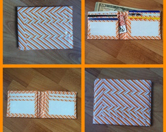 Orange and White Duct Tape Wallet