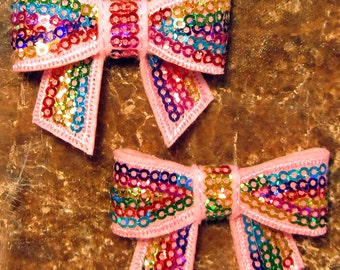 "2 Each 2"" Pink and Rainbow Sequin Bow Hair Bow Sewing Embellishment"