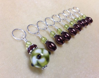 Green & Brown Stitch Markers- Snag Free Beaded Stitch Marker Set - Gift for Knitters- Jewelry