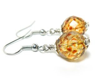 Speckled Amber Czech Glass Beaded Earrings