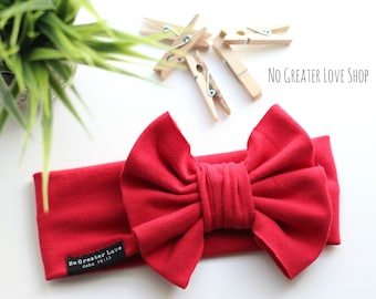 Solid Red Turban Headband - Head Wrap - Top Knot - Petite Bow - Big Bow - Baby Child Adult - Buy One Give One