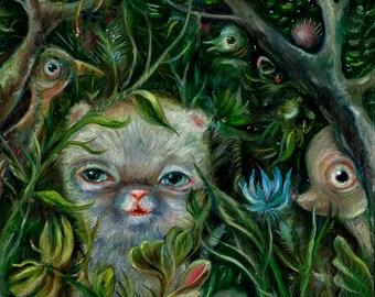 Secret Forest Animals, Jungle Art Print,  Pop Surrealism, Lowbrow Art, Whimsical Art, Childrens Decor, Illustration Art