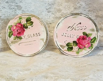 shabby chic home decor, chic pink roses, shabby home decor, cottage chic, upcycled kerr jelly jars, upcycled repurposed recycled, vintage