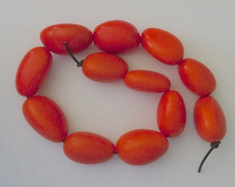 Orange Strand 0, 12 Tagua Nuts, Vegetable Ivory, EcoBeads, Tagua, Natural, Organic Seeds