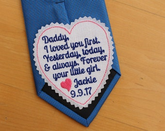 Dad I loved your first, heart Tie Patch, today a bride, tie label, Embroidered Patches,Father of the Bride Gift, iron-on available,S7