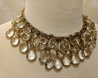 Vintage Glass Tear drop choker style necklace,