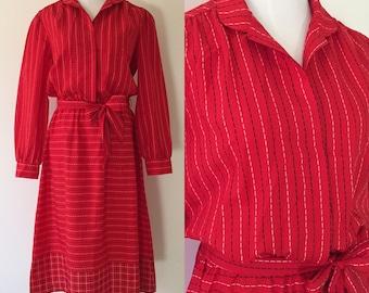 1970s Vintage Long-Sleeved Belted Secretary Dress / Red, Black, White