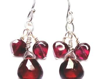 """RED HEARTS Garnet Sterling Silver Briolette 1-1/8"""" Dangle Earrings E422a"""