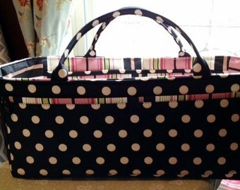 Scrapbooking Caddy | Storage Organizer Bin | Craft Sewing Caddy | Terrace Pink Stripe Black Polka Dot