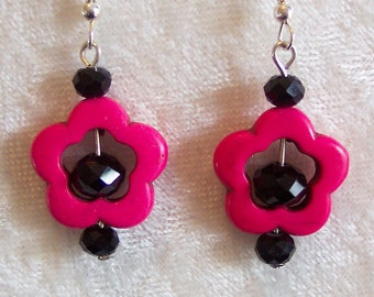 Black Pink Earrings, Hot Pink Earrings, Dark Pink Flower Earrings, Black Crystal Earrings, Hot Pink Dyed Howlite Earrings, Clip ons Avail