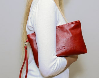 Sale!!! Deep red Leather Clutch Purse Leather wristlet Evening Clutch Bag Leather Bag