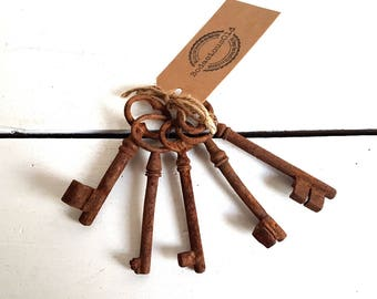 Old set of rustic vintage keys