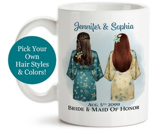 Coffee Mug, Custom Maid of Honor Characters Style 001, Will You Be My Maid of Honor, Wedding Keepsake, Bridesmaid, Gift Idea, Coffee Cup