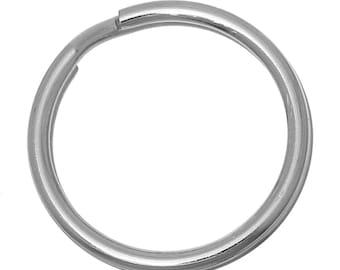 10 stainless steel key rings, 30 mm
