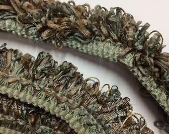 SALE 3 yard piece Loop fringe trim tan taupe gold blue  #B18